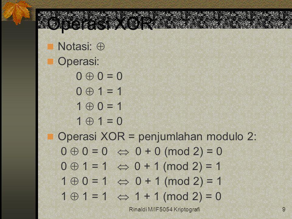 Rinaldi M/IF5054 Kriptografi9 Operasi XOR Notasi:  Operasi: 0  0 = 0 0  1 = 1 1  0 = 1 1  1 = 0 Operasi XOR = penjumlahan modulo 2: 0  0 = 0  0