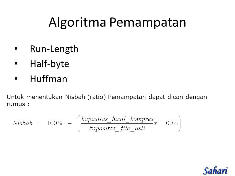 Algoritma Pemampatan Run-Length Half-byte Huffman Untuk menentukan Nisbah (ratio) Pemampatan dapat dicari dengan rumus : Sahari