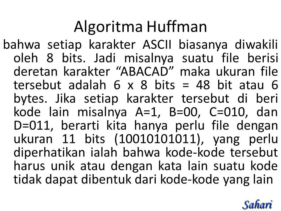 Algoritma Huffman bahwa setiap karakter ASCII biasanya diwakili oleh 8 bits.