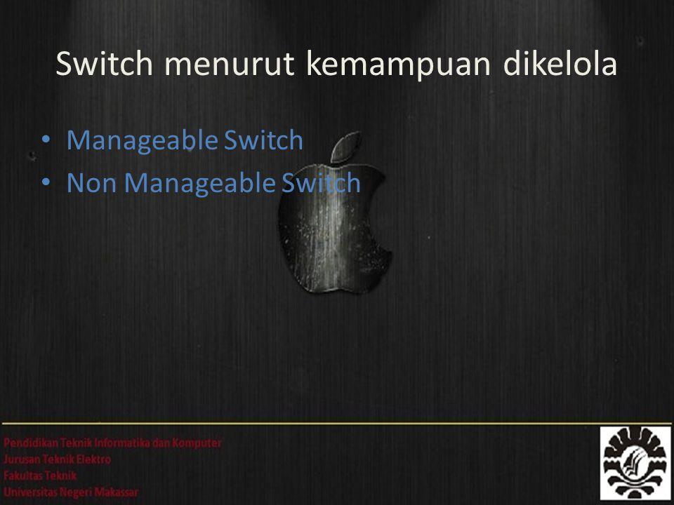 Manageable Switch Non Manageable Switch Switch menurut kemampuan dikelola