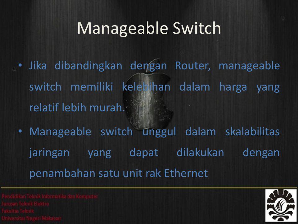 Jika dibandingkan dengan Router, manageable switch memiliki kelebihan dalam harga yang relatif lebih murah. Manageable switch unggul dalam skalabilita