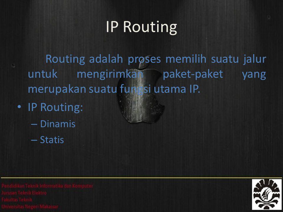 Routing adalah proses memilih suatu jalur untuk mengirimkan paket-paket yang merupakan suatu fungsi utama IP. IP Routing: – Dinamis – Statis IP Routin