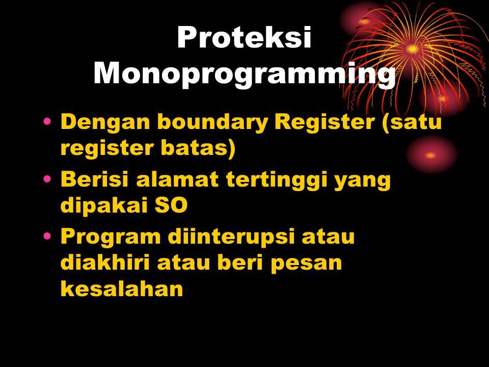 Proteksi Monoprogramming Dengan boundary Register (satu register batas) Berisi alamat tertinggi yang dipakai SO Program diinterupsi atau diakhiri atau