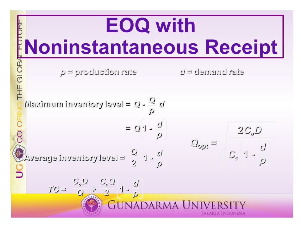 EOQ with Noninstantaneous Receipt p = production rated = demand rate Maximum inventory level =Q - d =Q 1 - Qpdp Average inventory level = 1 - Q2 dp TC