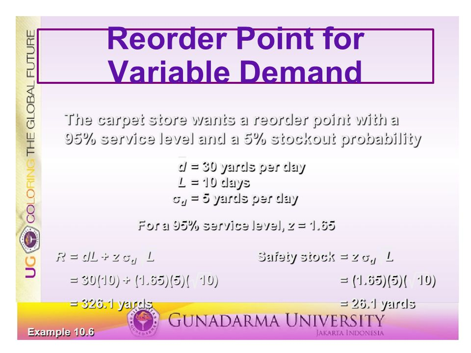 Reorder Point for Variable Demand The carpet store wants a reorder point with a 95% service level and a 5% stockout probability d= 30 yards per day L=
