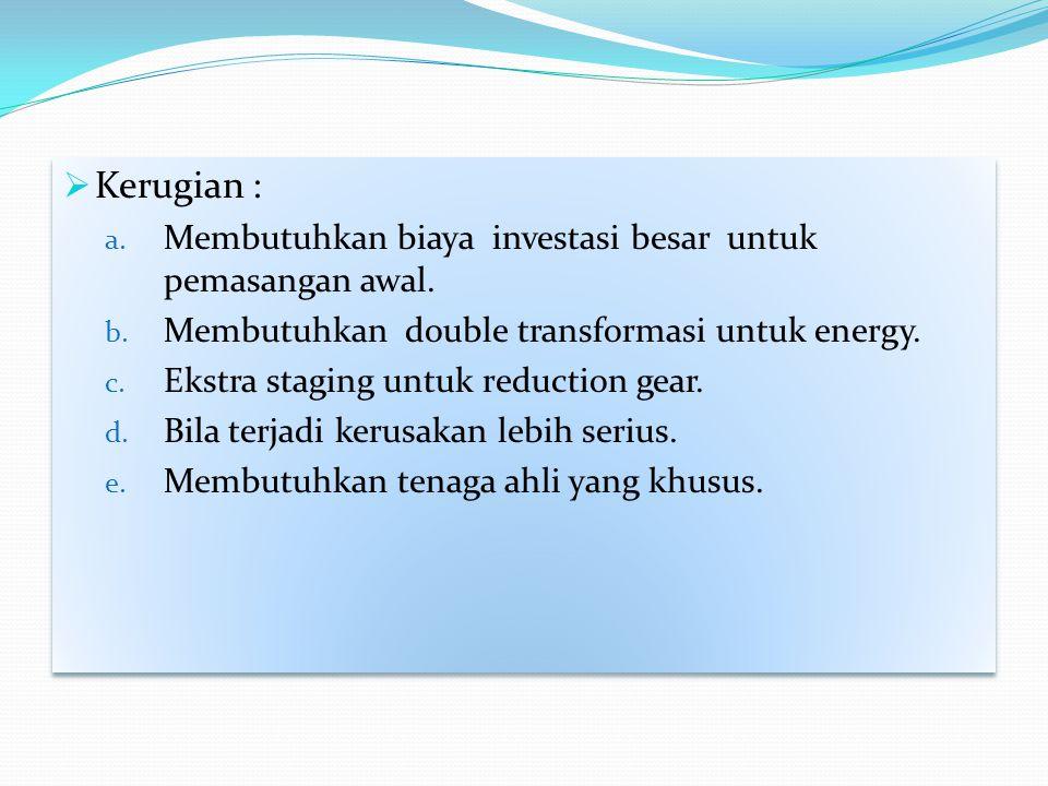  Kerugian : a. Membutuhkan biaya investasi besar untuk pemasangan awal. b. Membutuhkan double transformasi untuk energy. c. Ekstra staging untuk redu