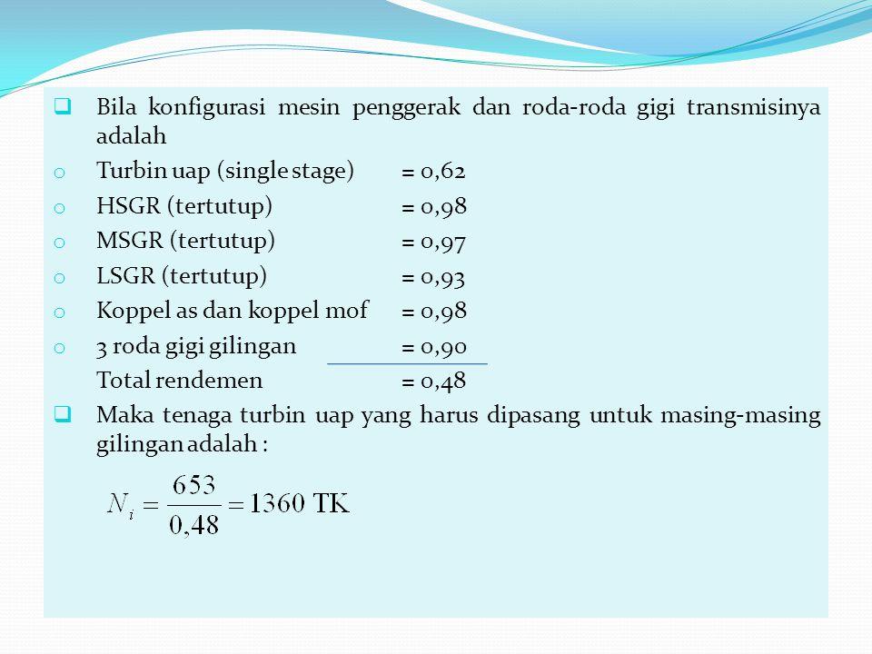  Bila konfigurasi mesin penggerak dan roda-roda gigi transmisinya adalah o Turbin uap (single stage)= 0,62 o HSGR (tertutup)= 0,98 o MSGR (tertutup)=
