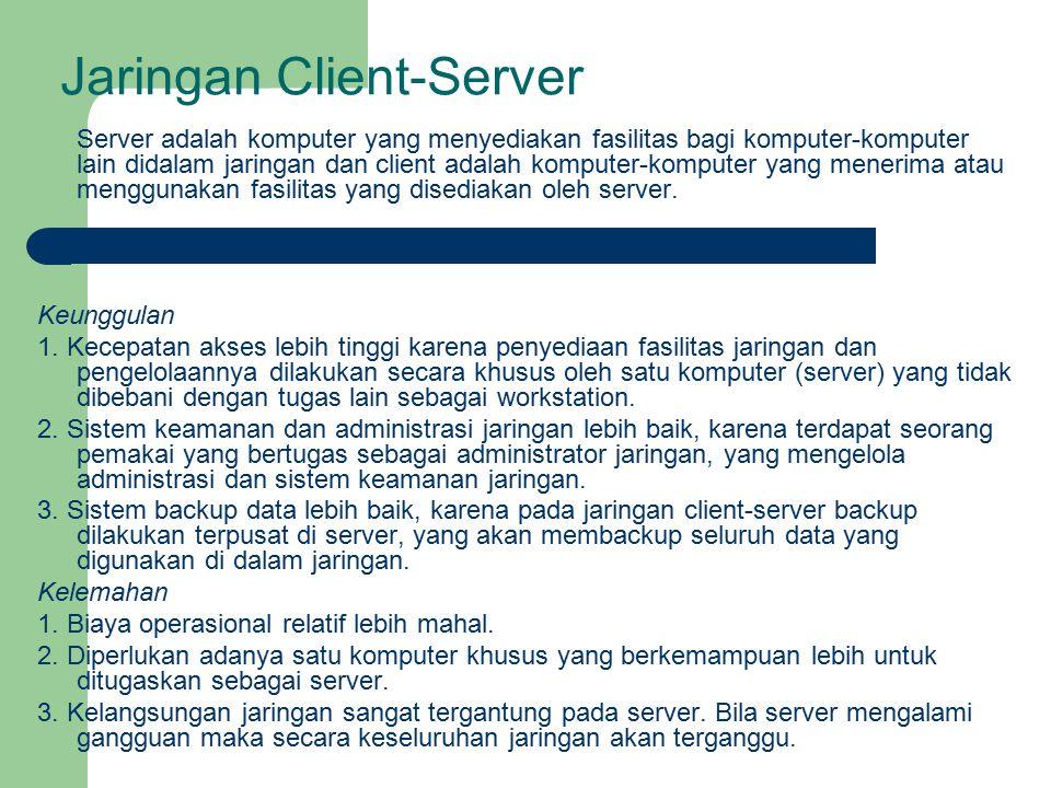 Jaringan Client-Server Server adalah komputer yang menyediakan fasilitas bagi komputer-komputer lain didalam jaringan dan client adalah komputer-kompu