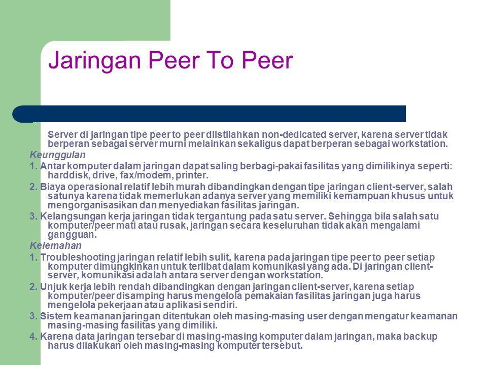 Jaringan Peer To Peer Server di jaringan tipe peer to peer diistilahkan non-dedicated server, karena server tidak berperan sebagai server murni melain