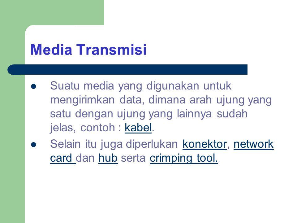 Media Transmisi Suatu media yang digunakan untuk mengirimkan data, dimana arah ujung yang satu dengan ujung yang lainnya sudah jelas, contoh : kabel.k