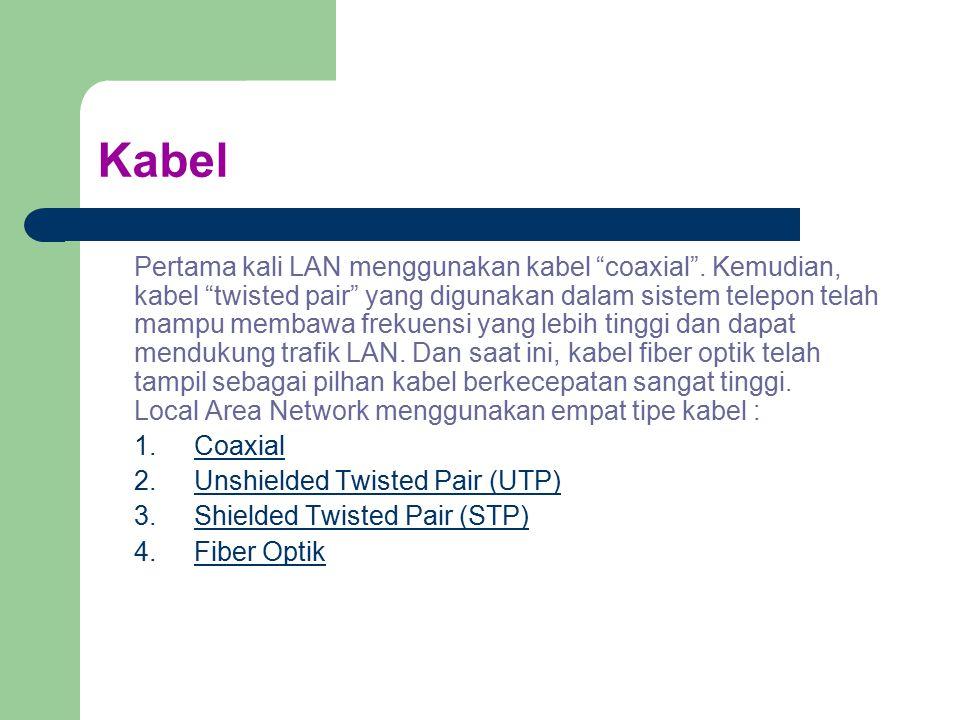 """Kabel Pertama kali LAN menggunakan kabel """"coaxial"""". Kemudian, kabel """"twisted pair"""" yang digunakan dalam sistem telepon telah mampu membawa frekuensi y"""