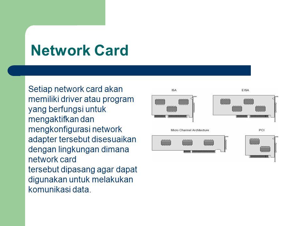 Network Card Setiap network card akan memiliki driver atau program yang berfungsi untuk mengaktifkan dan mengkonfigurasi network adapter tersebut dise