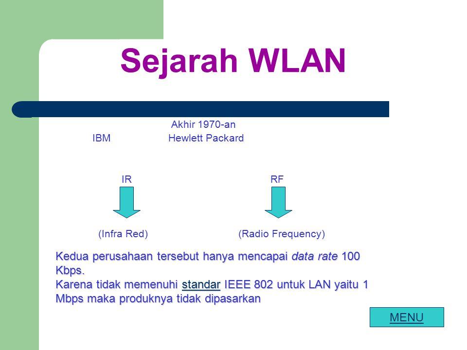 Sejarah WLAN Akhir 1970-an IBM Hewlett Packard IR RF (Infra Red) (Radio Frequency) Kedua perusahaan tersebut hanya mencapai data rate 100 Kbps. Karena