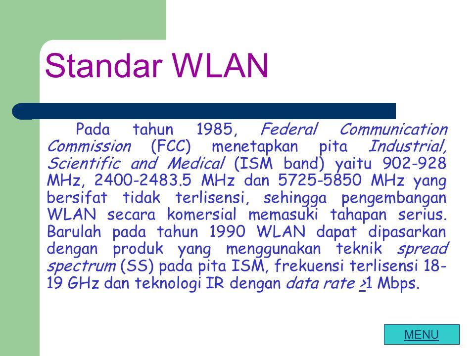 Standar WLAN Pada tahun 1985, Federal Communication Commission (FCC) menetapkan pita Industrial, Scientific and Medical (ISM band) yaitu 902-928 MHz,