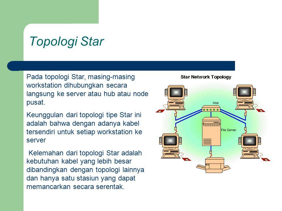 Topologi Star Pada topologi Star, masing-masing workstation dihubungkan secara langsung ke server atau hub atau node pusat. Keunggulan dari topologi t