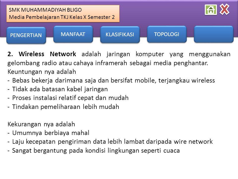 SMK MUHAMMADIYAH BLIGO Media Pembelajaran TKJ Kelas X Semester 2 SMK MUHAMMADIYAH BLIGO Media Pembelajaran TKJ Kelas X Semester 2 2. Wireless Network