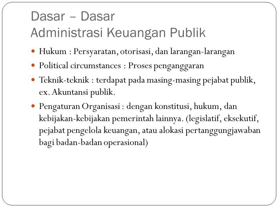 Dasar – Dasar Administrasi Keuangan Publik Hukum : Persyaratan, otorisasi, dan larangan-larangan Political circumstances : Proses penganggaran Teknik-