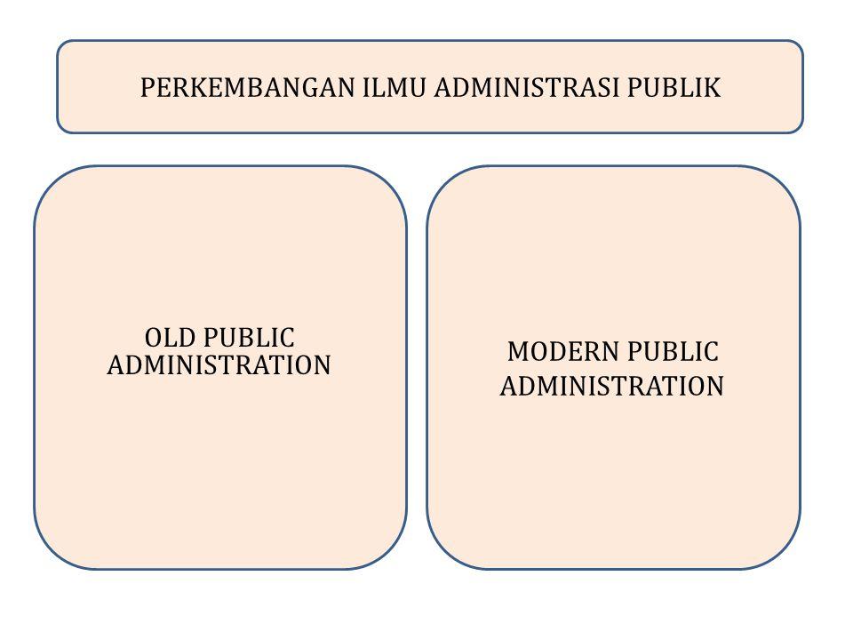 PERKEMBANGAN ILMU ADMINISTRASI PUBLIK OLD PUBLIC ADMINISTRATION MODERN PUBLIC ADMINISTRATION