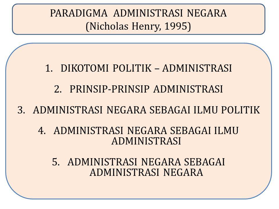 PARADIGMA ADMINISTRASI NEGARA (Nicholas Henry, 1995) 1.DIKOTOMI POLITIK – ADMINISTRASI 2.PRINSIP-PRINSIP ADMINISTRASI 3.ADMINISTRASI NEGARA SEBAGAI ILMU POLITIK 4.ADMINISTRASI NEGARA SEBAGAI ILMU ADMINISTRASI 5.ADMINISTRASI NEGARA SEBAGAI ADMINISTRASI NEGARA