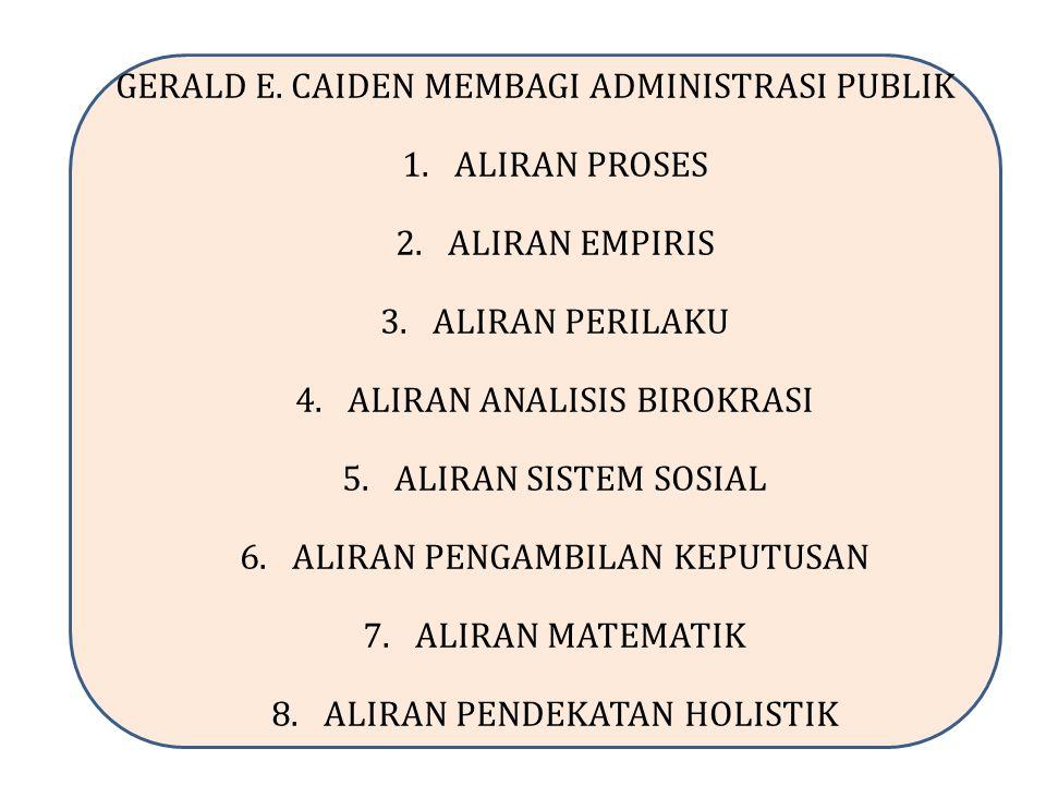 GERALD E. CAIDEN MEMBAGI ADMINISTRASI PUBLIK 1.ALIRAN PROSES 2.ALIRAN EMPIRIS 3.ALIRAN PERILAKU 4.ALIRAN ANALISIS BIROKRASI 5.ALIRAN SISTEM SOSIAL 6.A