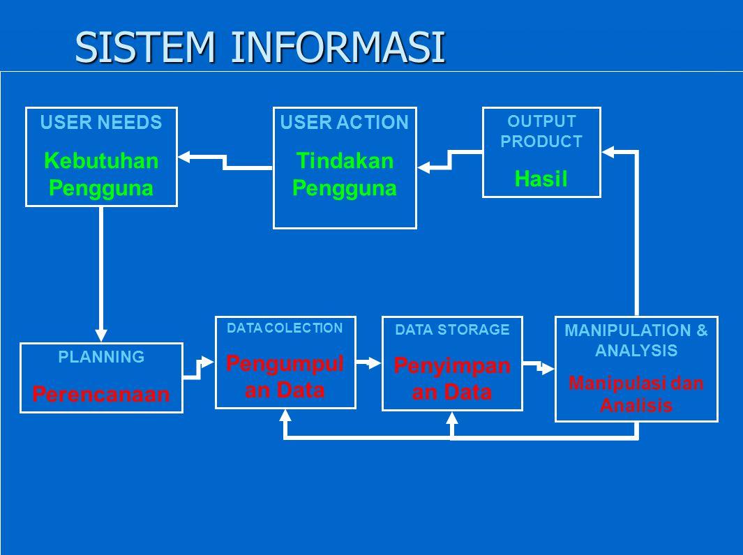 SISTEM INFORMASI USER NEEDS Kebutuhan Pengguna USER ACTION Tindakan Pengguna OUTPUT PRODUCT Hasil PLANNING Perencanaan DATA COLECTION Pengumpul an Dat