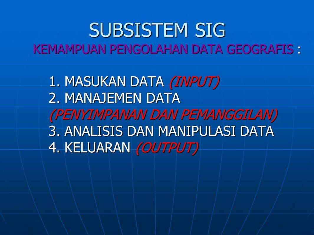 SUBSISTEM SIG KEMAMPUAN PENGOLAHAN DATA GEOGRAFIS : 1. MASUKAN DATA (INPUT) 2. MANAJEMEN DATA (PENYIMPANAN DAN PEMANGGILAN) 3. ANALISIS DAN MANIPULASI
