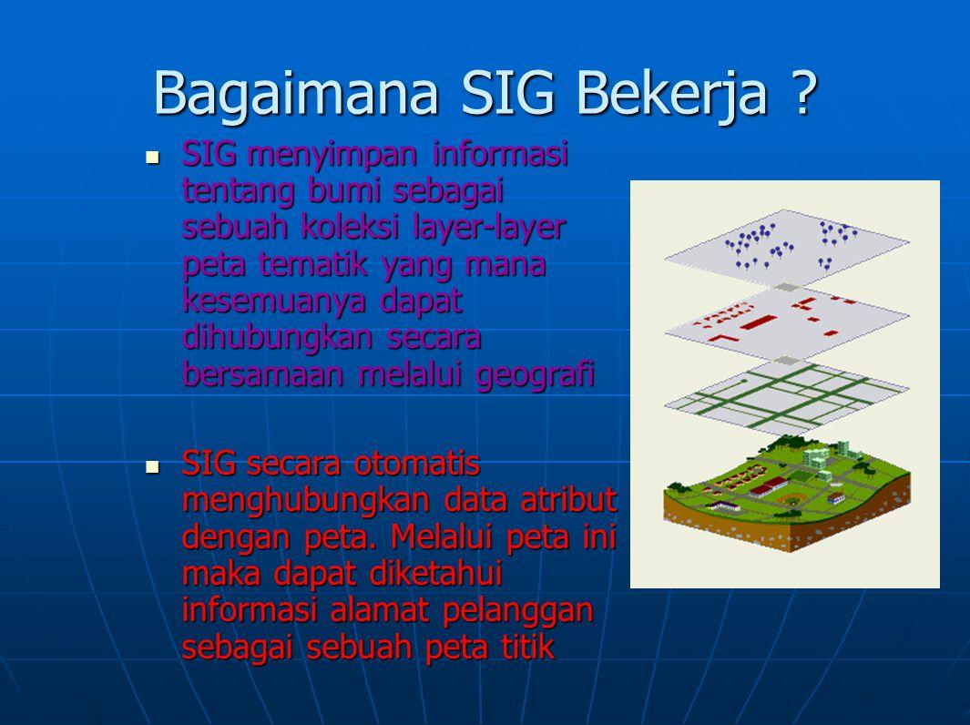 Bagaimana SIG Bekerja ? SIG menyimpan informasi tentang bumi sebagai sebuah koleksi layer-layer peta tematik yang mana kesemuanya dapat dihubungkan se