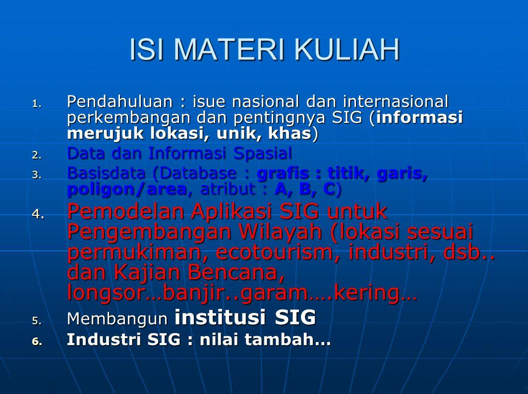 ISI MATERI KULIAH 1. Pendahuluan : isue nasional dan internasional perkembangan dan pentingnya SIG (informasi merujuk lokasi, unik, khas) 2. Data dan