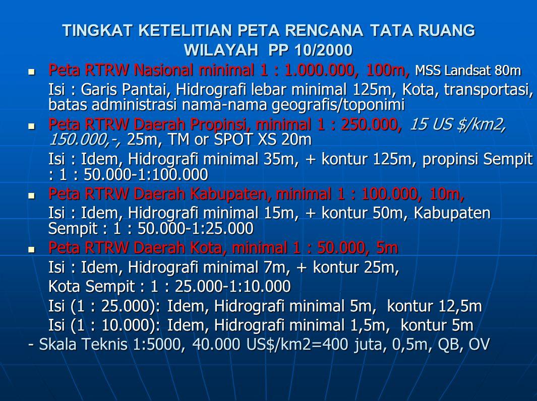TINGKAT KETELITIAN PETA RENCANA TATA RUANG WILAYAH PP 10/2000 Peta RTRW Nasional minimal 1 : 1.000.000, 100m, MSS Landsat 80m Peta RTRW Nasional minim
