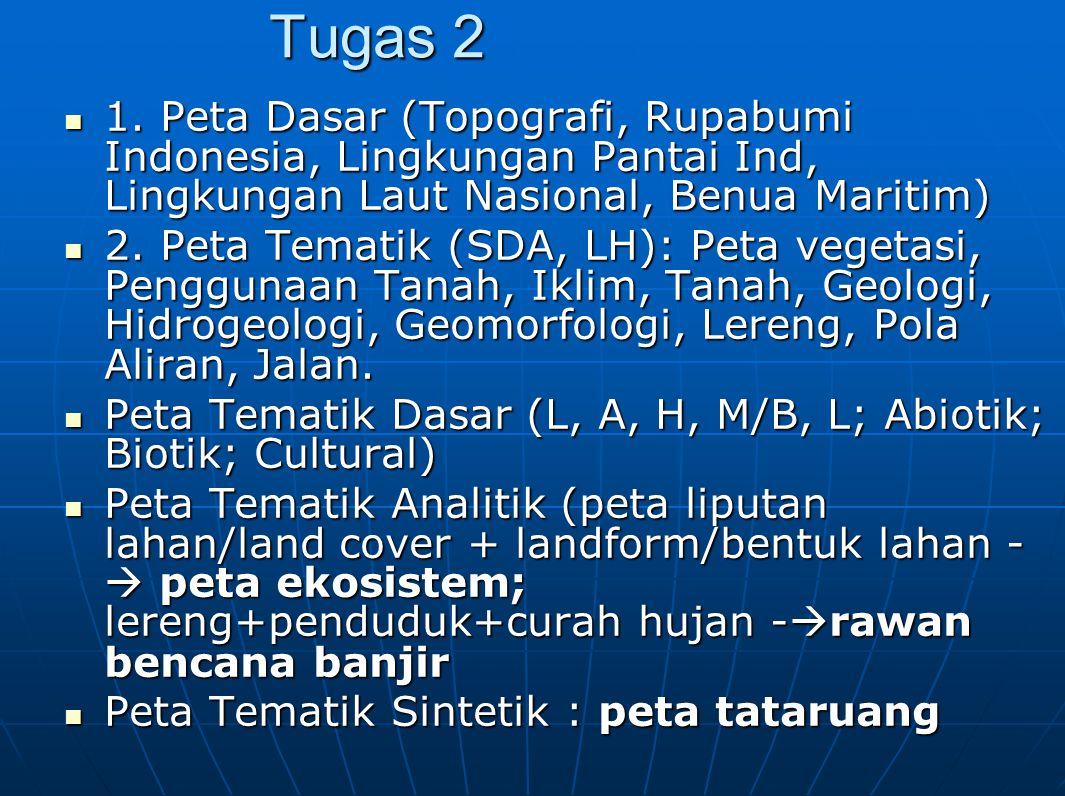 Tugas 2 1. Peta Dasar (Topografi, Rupabumi Indonesia, Lingkungan Pantai Ind, Lingkungan Laut Nasional, Benua Maritim) 1. Peta Dasar (Topografi, Rupabu