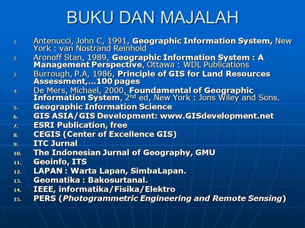 BUKU DAN MAJALAH 1. Antenucci, John C, 1991, Geographic Information System, New York : van Nostrand Reinhold 2. Aronoff Stan, 1989, Geographic Informa