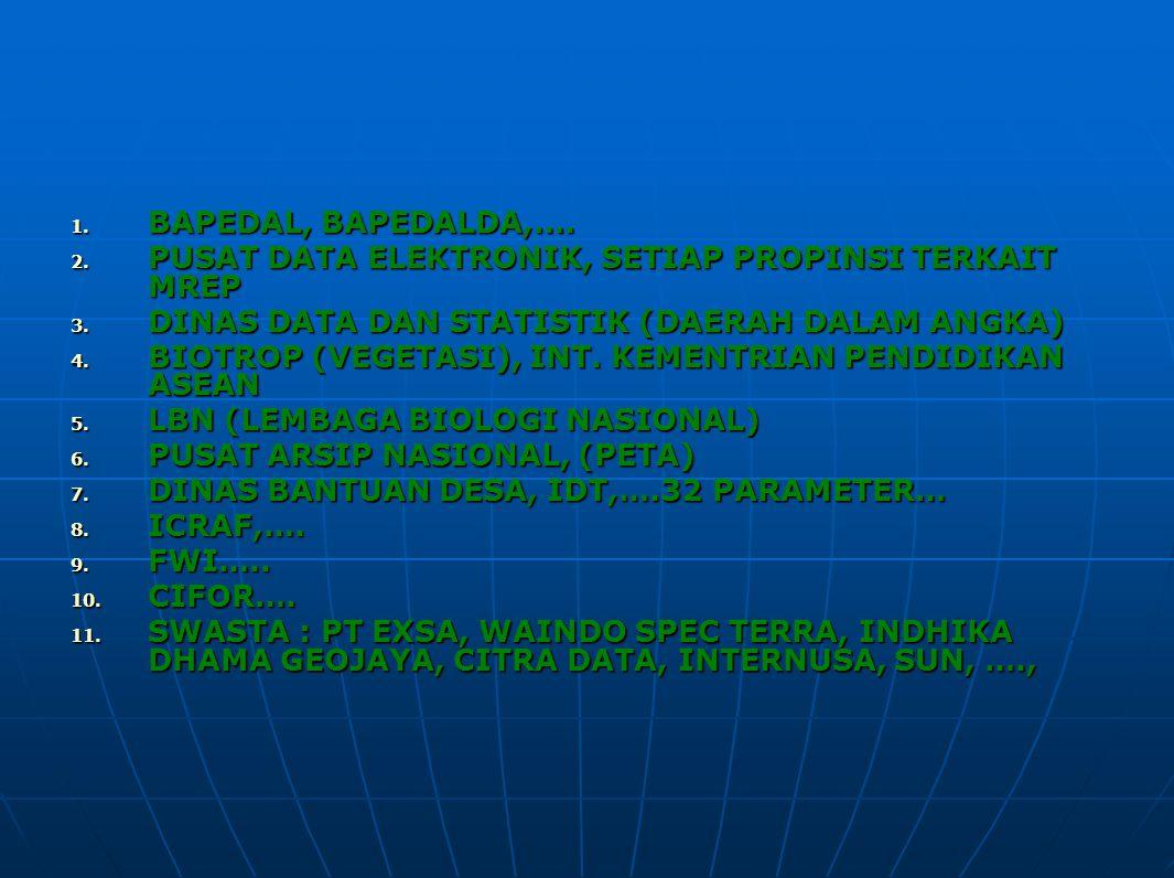1. BAPEDAL, BAPEDALDA,…. 2. PUSAT DATA ELEKTRONIK, SETIAP PROPINSI TERKAIT MREP 3. DINAS DATA DAN STATISTIK (DAERAH DALAM ANGKA) 4. BIOTROP (VEGETASI)