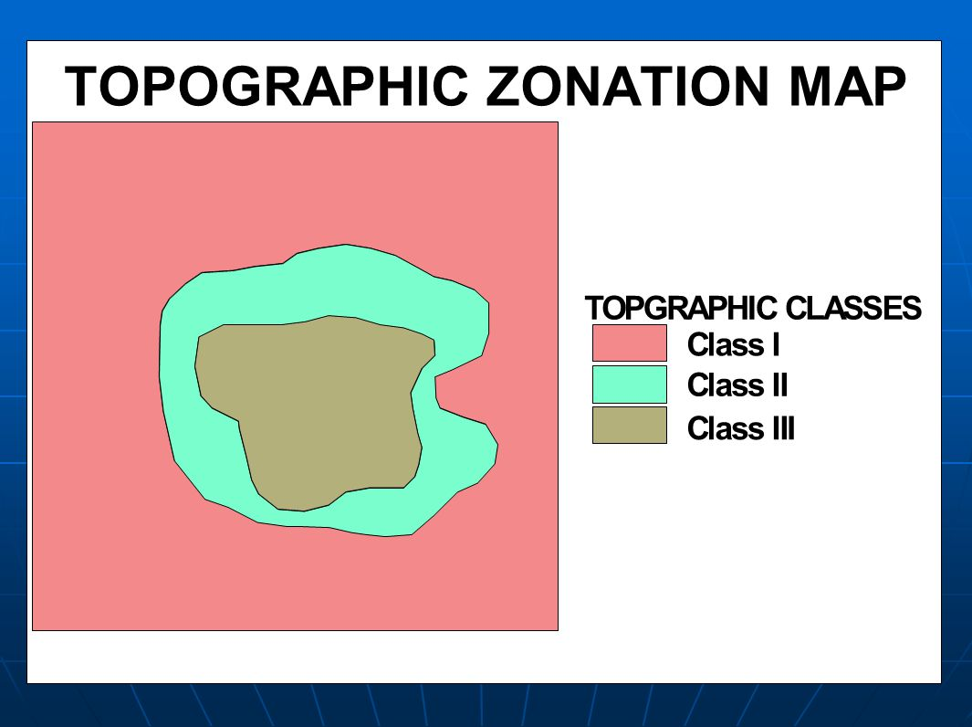 TOPOGRAPHIC ZONATION MAP TOPGRAPHIC CLASSES Class I Class II Class III