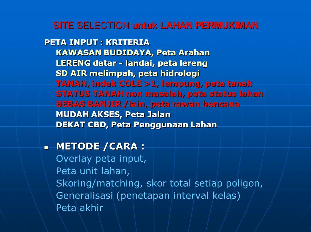 SITE SELECTION untuk LAHAN PERMUKIMAN PETA INPUT : KRITERIA KAWASAN BUDIDAYA, Peta Arahan LERENG datar - landai, peta lereng SD AIR melimpah, peta hid