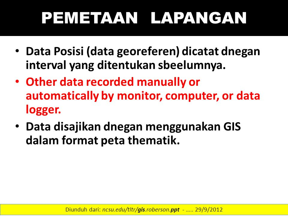 PEMETAAN LAPANGAN Data Posisi (data georeferen) dicatat dnegan interval yang ditentukan sbeelumnya. Other data recorded manually or automatically by m