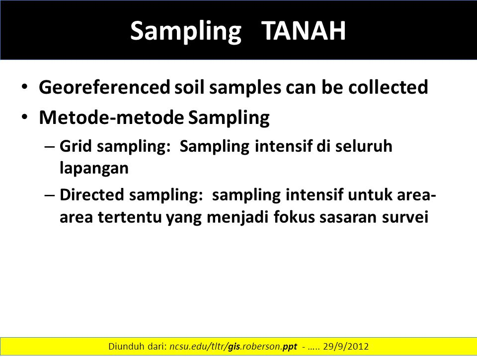 Sampling TANAH Georeferenced soil samples can be collected Metode-metode Sampling – Grid sampling: Sampling intensif di seluruh lapangan – Directed sa