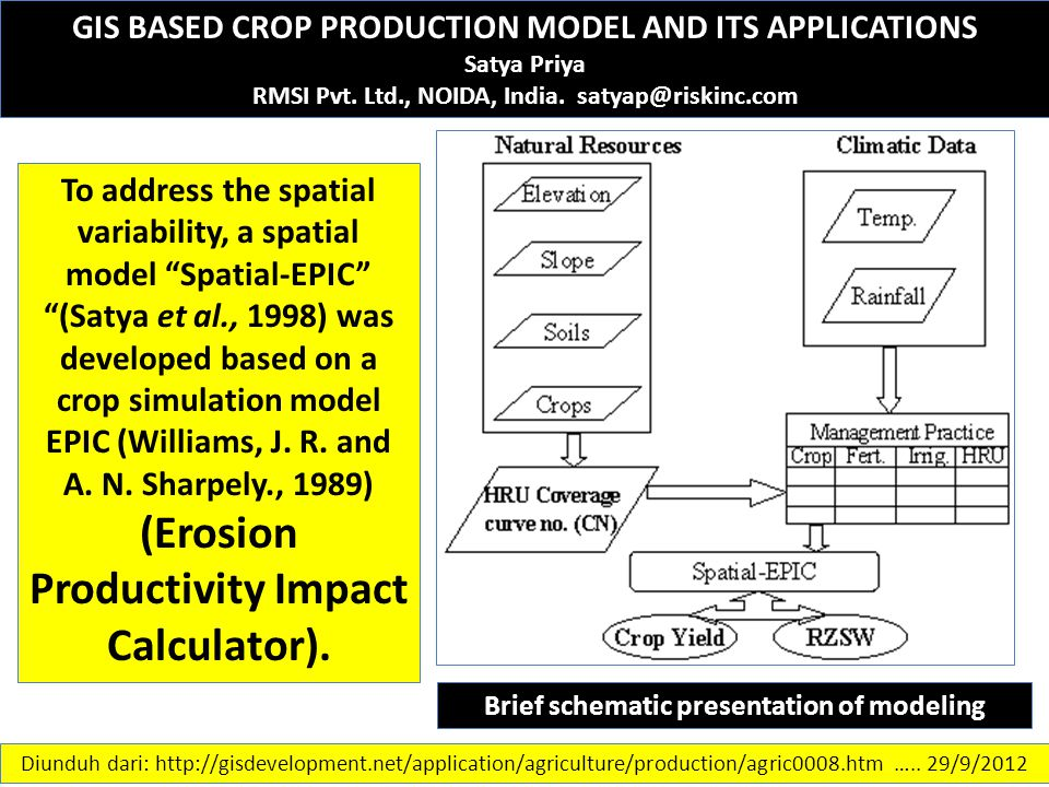 GIS BASED CROP PRODUCTION MODEL AND ITS APPLICATIONS Satya Priya RMSI Pvt. Ltd., NOIDA, India. satyap@riskinc.com To address the spatial variability,