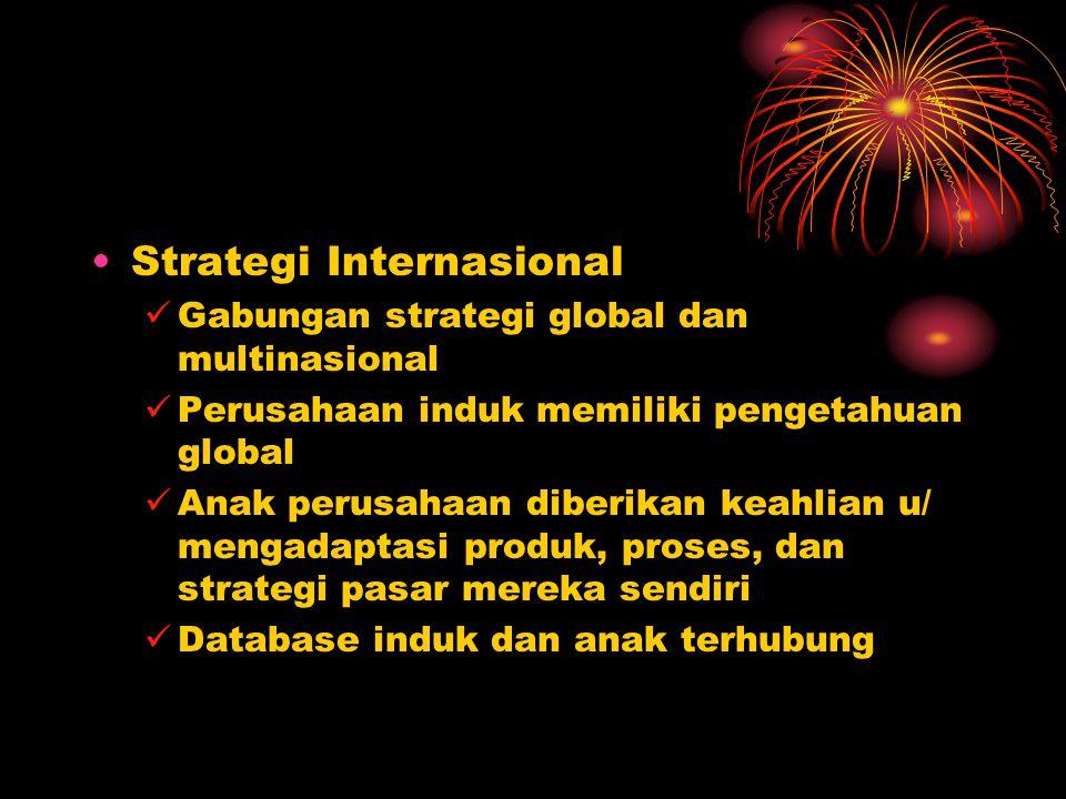 Strategi Internasional Gabungan strategi global dan multinasional Perusahaan induk memiliki pengetahuan global Anak perusahaan diberikan keahlian u/ m