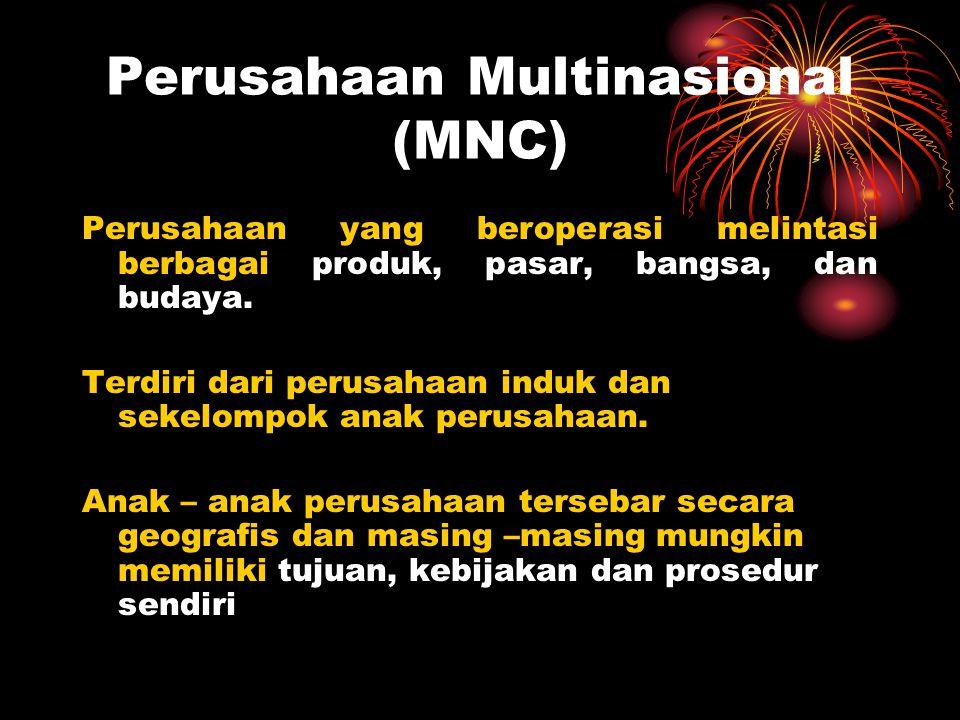 Perusahaan Multinasional (MNC) Perusahaan yang beroperasi melintasi berbagai produk, pasar, bangsa, dan budaya. Terdiri dari perusahaan induk dan seke