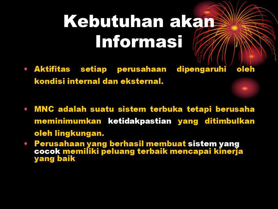 Kebutuhan akan Informasi Aktifitas setiap perusahaan dipengaruhi oleh kondisi internal dan eksternal. MNC adalah suatu sistem terbuka tetapi berusaha