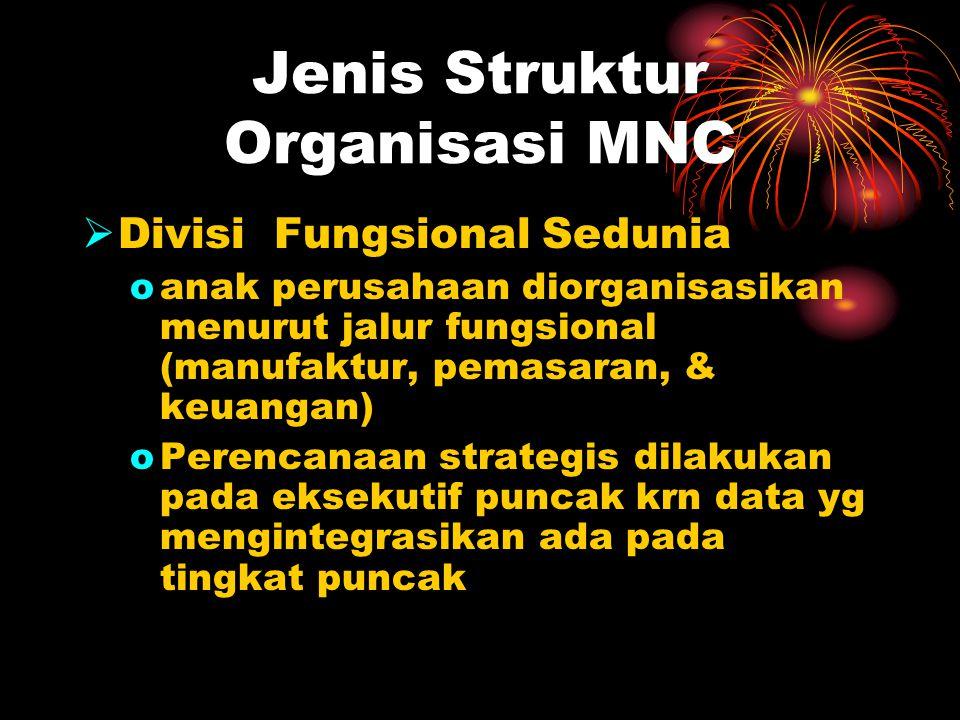 Jenis Struktur Organisasi MNC  Divisi Fungsional Sedunia oanak perusahaan diorganisasikan menurut jalur fungsional (manufaktur, pemasaran, & keuangan