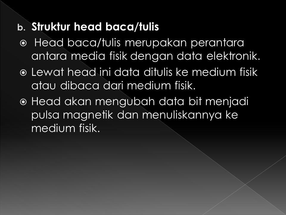 b. Struktur head baca/tulis  Head baca/tulis merupakan perantara antara media fisik dengan data elektronik.  Lewat head ini data ditulis ke medium f