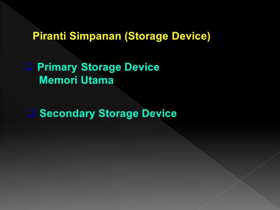 Piranti Simpanan (Storage Device)  Secondary Storage Device  Primary Storage Device Memori Utama