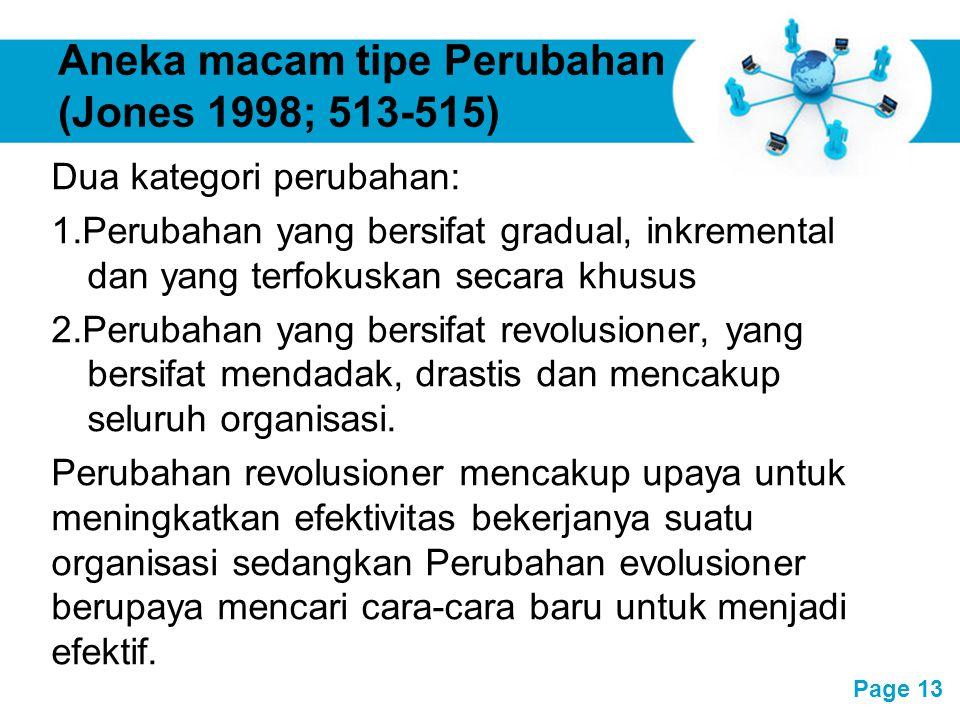 Free Powerpoint Templates Page 13 Aneka macam tipe Perubahan (Jones 1998; 513-515) Dua kategori perubahan: 1.Perubahan yang bersifat gradual, inkremen