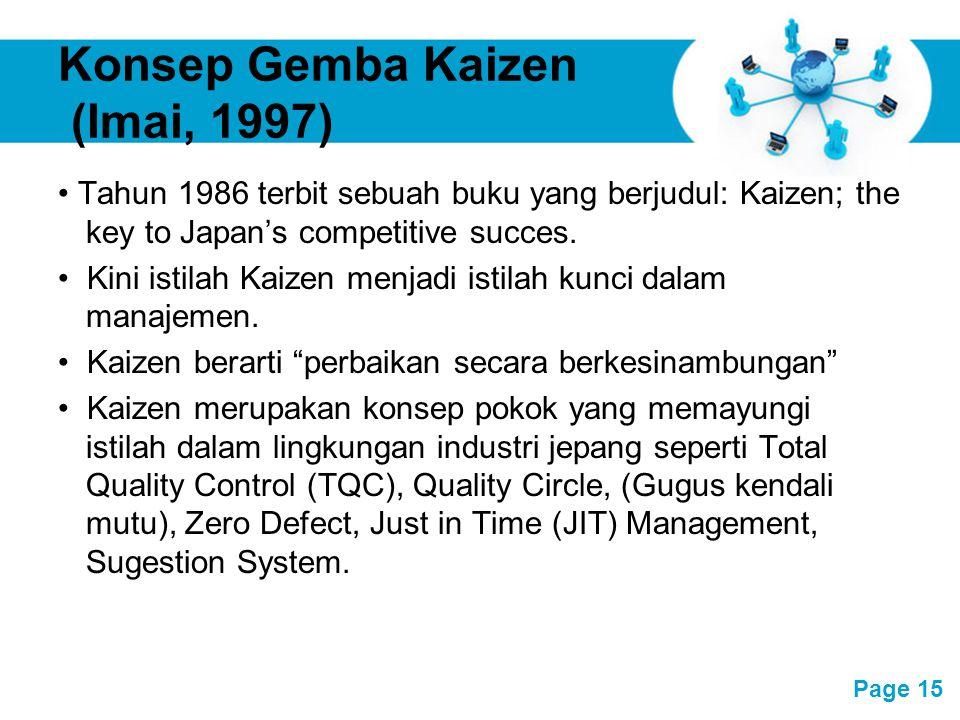 Free Powerpoint Templates Page 15 Konsep Gemba Kaizen (Imai, 1997) Tahun 1986 terbit sebuah buku yang berjudul: Kaizen; the key to Japan's competitive