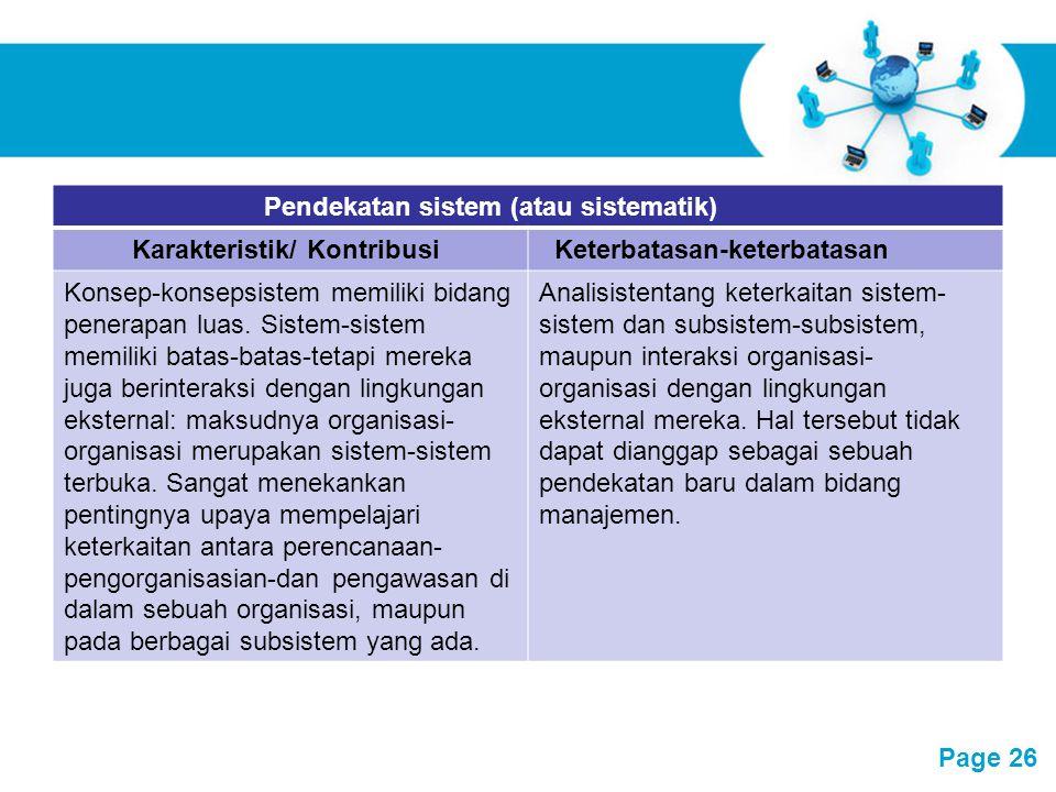 Free Powerpoint Templates Page 26 Pendekatan sistem (atau sistematik) Karakteristik/ KontribusiKeterbatasan-keterbatasan Konsep-konsepsistem memiliki