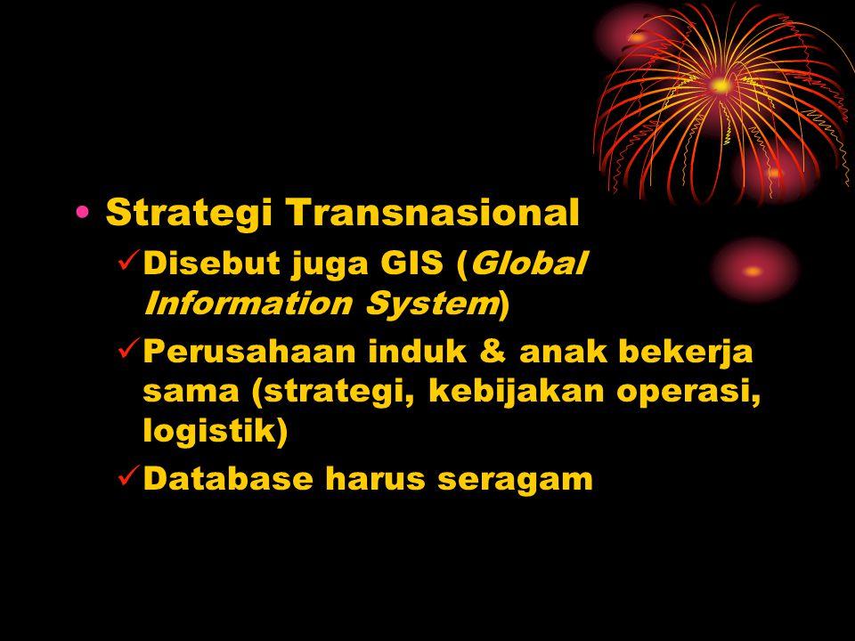 Strategi Transnasional Disebut juga GIS (Global Information System) Perusahaan induk & anak bekerja sama (strategi, kebijakan operasi, logistik) Database harus seragam