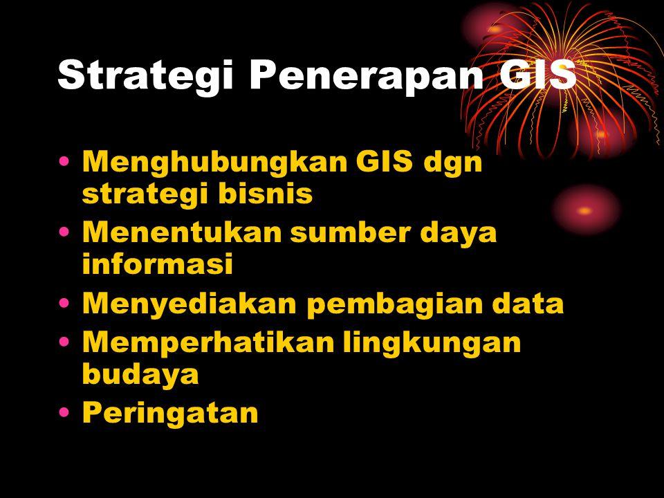 Strategi Penerapan GIS Menghubungkan GIS dgn strategi bisnis Menentukan sumber daya informasi Menyediakan pembagian data Memperhatikan lingkungan budaya Peringatan