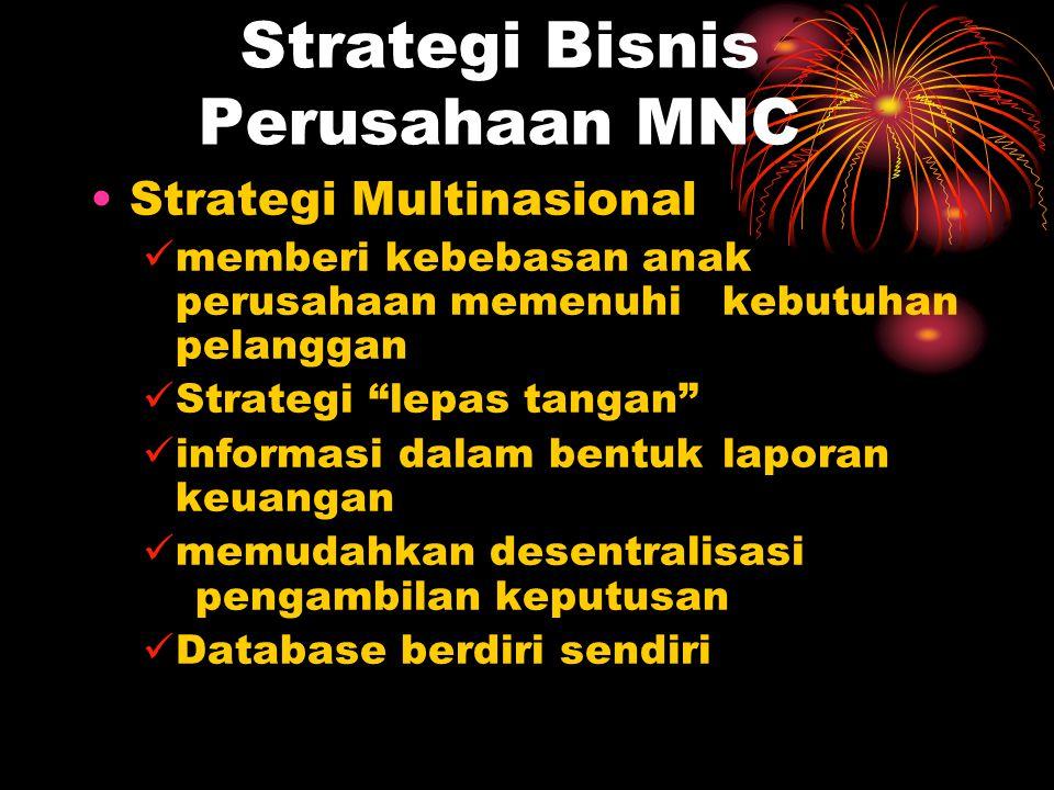 Strategi Bisnis Perusahaan MNC Strategi Multinasional memberi kebebasan anak perusahaan memenuhi kebutuhan pelanggan Strategi lepas tangan informasi dalam bentuk laporan keuangan memudahkan desentralisasi pengambilan keputusan Database berdiri sendiri