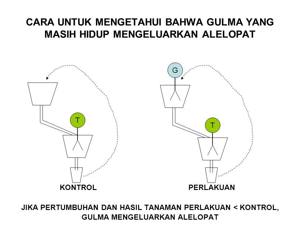 Alelopat dapat dikeluarkan oleh gulma yang masih hidup maupun yang sudah mati.